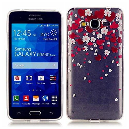 KSHOP Per Samsung Galaxy Grand Prime SM-G530/G530F Custodia Conchiglia fit ultra sottile Silicone Morbido Flessibile TPU Custodia Case Cover Protettivo Skin Caso modello - Cuore Rosso