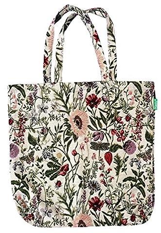 Einkaufstasche, Stofftasche Leinen 45 x 45cm, Motiv Blumen Wiese, Einkaufsbeutel Gobelin-Stil
