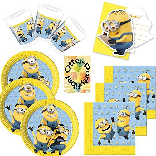 HHO Lovely Minions Partyset 64tlg. für 12 Kinder Teller Becher Servietten Einladungen
