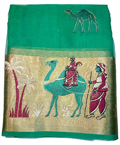 Vfcollections Women's Organza 'Heavy Veena Girl' Saree With Blouse Piece (Vfcollections263_Green)