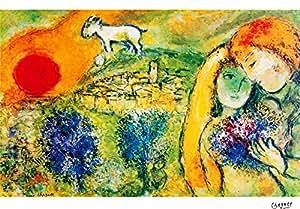 Marc Chagall, titulo: Les Amoureux de vence (1957), lithographie de moderne tecnique, 38x 28Cmts Presse 31x 23Cmts. Papier BFK France (filigrane) Edition 100numered Crayon Signé pr.???/100