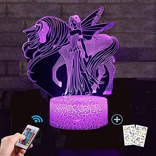 Einhorn Geschenk Einhorn Nachtlicht für Kinder, 3D Licht Lampe 7 Farben ändern mit Remote Urlaub und Geburtstagsgeschenke Ideen für Kinder ()