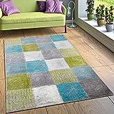 Designer Teppich Wohnzimmer Ausgefallene Farbkombination Karo Türkis Grün Grau, Grösse:80x150 cm
