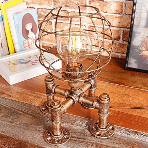 Preisvergleich Produktbild GJY American Style Retro Iron Lamp Shade Hollow Table Lamp Bedroom Living Room Study Bar Coffee Shop Decoration Steam Punk Table Lamp,Gold