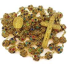 195ae723ea02 Nazareth Market Store Granos de circón Color Oro Rosario católico Collar  Medalla Milagrosa Cruz
