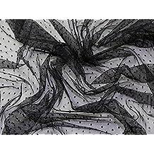 Diseño de lunares suave de tul red tela negro–por metro