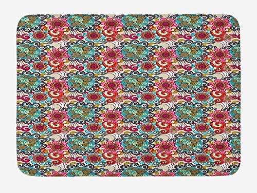 CHKWYN Paint Bath Mat, Ethnic Eastern Mandala Circles with Flowers and Swirls Folk Traditional Illustration, Plush Bathroom Decor Mat with Non Slip Backing, 23.6 W X 15.7 W Inches, Multicolor -