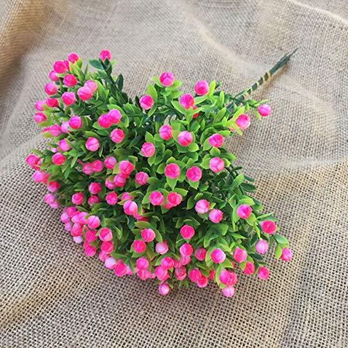 CHIRORO 10 Strauß Künstliche Blumen Kunststoff Grüne Künstliche Pflanze Blumensträuße für Blumenarrangement Familie Braut Hochzeit Party Feiertag Dekoration,Rosa