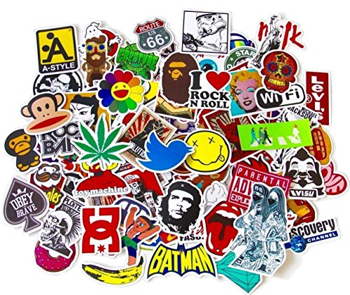 StickerFactory (Pack of 100pcs) Best Assorted Vinyl Decal Stickers Pack - All Different Top Trendy Random Styles Stickers Pack - Best for Laptop Macbook Skateboard Snowboard Luggage Suitcase iPhone Car Bike Bumper Stickers Bomb Pack - Vintage Retro Pop Art Graffiti Super Cool Decal Stickers Pack