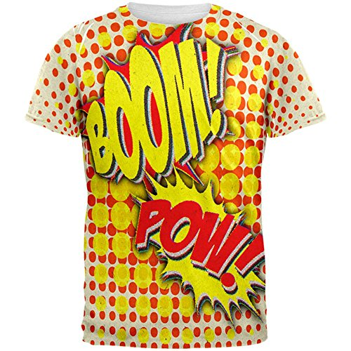 Halloween Boom Pow Vintage Comic Book Kostüm aller Herren-T-Shirt Multi (Music Kostüm Design Sound Of)
