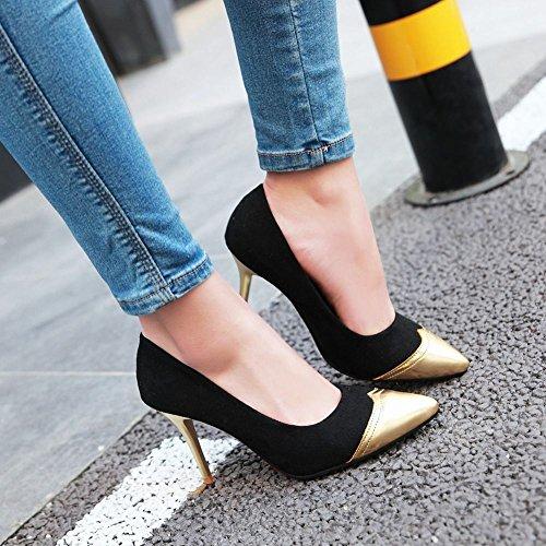 Mee Shoes Damen Stiletto mehrfarbig Nubukleder Pumps Schwarz