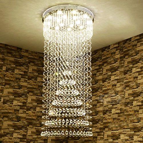 $Beleuchtung Spiral Treppenhaus Kristall Kronleuchter, Duplex Boden Gebäude Villa Großes Wohnzimmer Led Kronleuchter Innenleuchten ( größe : 3lights/40*65cm ) (Hanf-gebäude)