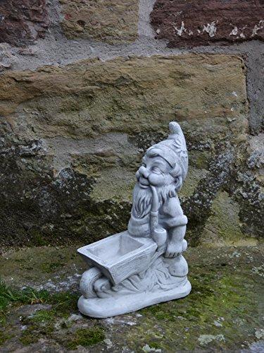 Lustiger massiver Zwerg Gartenzwerg mit Schubkarre aus Steinguss frostfest - 3