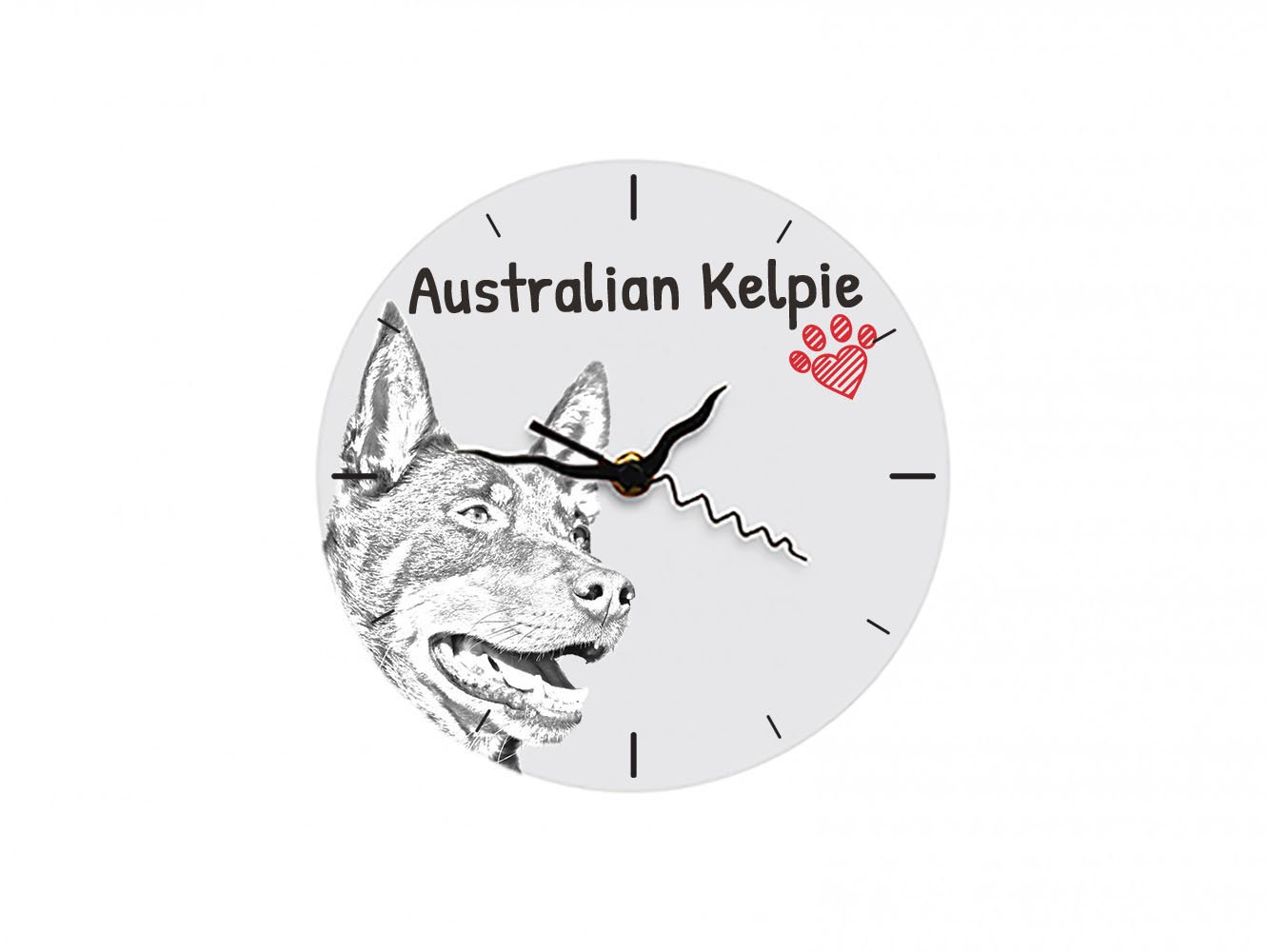 ArtDog Ltd. Australian Kelpie, freestanding MDF floor clock with an image of a dog