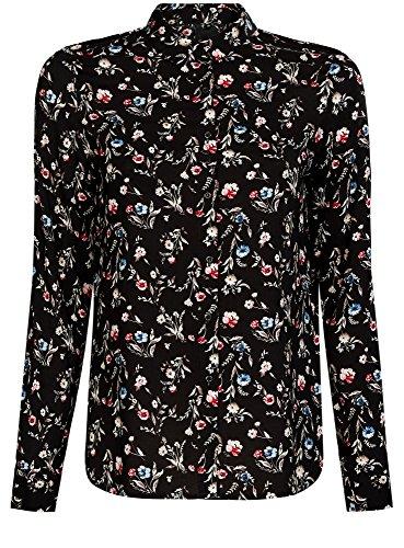 oodji Ultra Mujer Blusa Estampada de Viscosa, Negro, ES 42 / L