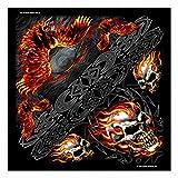 Bandana • Kopftuch • Staubschutz • Halstuch • Skull Flammen Tribal Airbrush Motiv • V-Twin • Adler