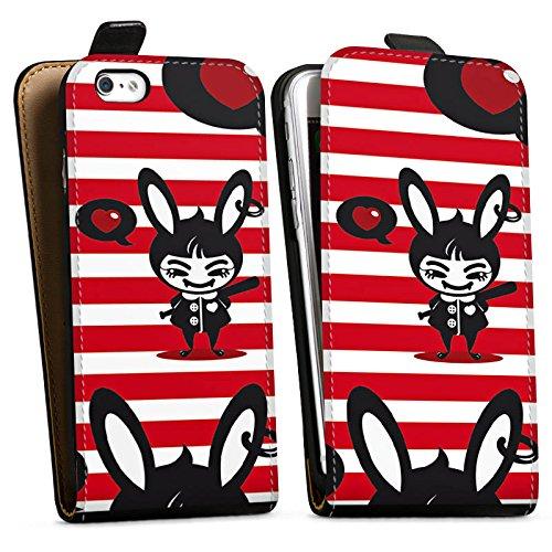 Apple iPhone X Silikon Hülle Case Schutzhülle Hase Bunny Streifen Downflip Tasche schwarz