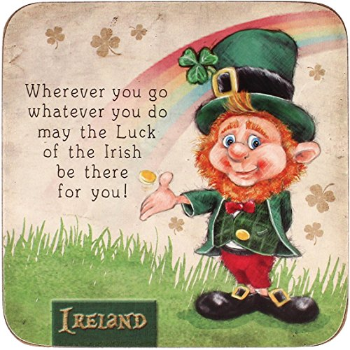 McMurfy Luck O' The Irish Leprechaun Designed Coaster With 'Where You Go' Saying