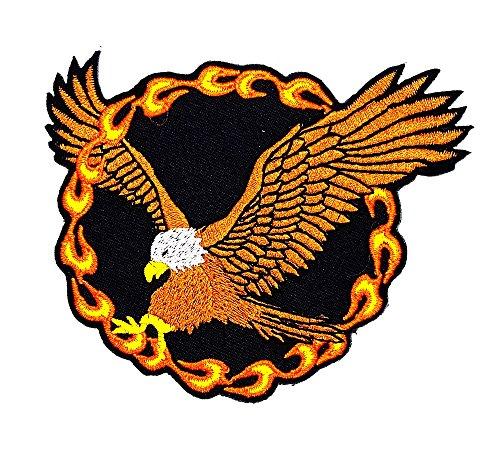 rabana Eagle Hawk Bird Bald Flame Fire Rider Biker Motorrad Patch Kinder Cute Animal Patch für Heimwerker-Applikation Eisen auf Patch T Shirt Patch Sew Iron on gesticktes Badge Schild (Kinder Bird Big Kostüm)