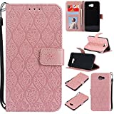 BONROY Case,Samsung Galaxy J5 Prime/On5 (2016) Flip Leather Case, Shockproof Bumper Cover and Premium Wallet Case for Samsung Galaxy J5 Prime/On5 (2016)-(Rattan flowers-rose gold)