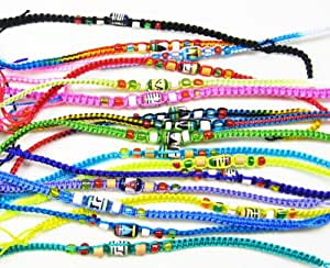 Pack of 12 Beaded Friendship bracelets - different colours