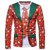 SEWORLD Weihnachten Christmas Herren Abend Party Männer Weihnachtskostüm Sankt Drucken Urlaub Humor Langarm T-Shirt Xmas Top(X1-3-rot4,EU-46/CN-S)