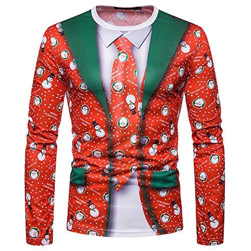SEWORLD Weihnachten Christmas Herren Abend Party Männer Weihnachtskostüm Sankt Drucken Urlaub Humor Langarm T-Shirt Xmas Top(X1-3-rot4,EU-52/CN-XL)