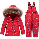 CARETOO Conjunto de ropa de plumas para bebé, niña y niño, unisex, chaqueta de invierno y pantalón de invierno con capucha de