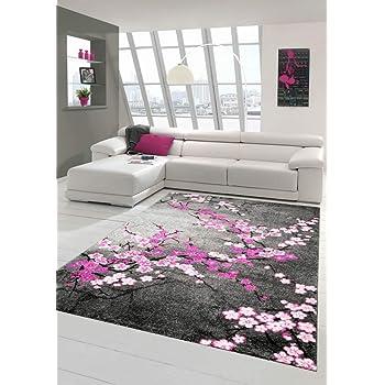 Designer Teppich Moderner Teppich Wohnzimmer Teppich Blumenmuster Grau Lila  Pink Weiss Rosa Größe 80x150 cm