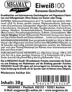 Megamax Eiweiss Banane. Molkenprotein + Milcheiweiß Eiweiß Protein mit Biologischer Wertigkeit ca. 100. Für Muskelaufbau und Diaet. Inhalt: 30 g