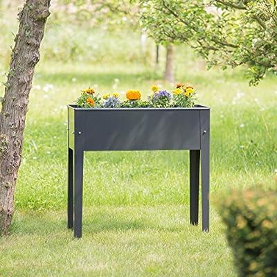 2x Hochbeet, 4 Beine, Pflanzkübel, Kräuterbeet, Blumenkübel, Frühbeet, Metall, H x B x T: ca. 80,5 x 81,5 x 31 cm, grau von relaxdays bei Du und dein Garten