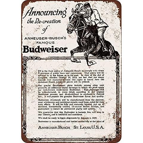 1919–Budweiser e divieto di stile vintage Riproduzione in metallo Tin Sign 17,8x 25,4cm