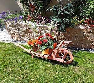 Grande brouette Porte-pots de fleurs en bois, Ouverture de bas pour Planter Pot de fleurs, pots de fleurs, pots de fleurs, pots de fleurs, plantes à fleurs, brouette Bac pour Pot de fleurs 100 CM-bois avec décoration HSOF Rouge 100 Pot de fleur en bois Rouge brillant Pflanzkübel
