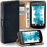 OneFlow Tasche für HTC Desire C Hülle Cover mit Kartenfächern | Flip Case Etui Handyhülle zum Aufklappen | Handytasche Schutzhülle Zubehör Handy Schutz Bumper in Schwarz
