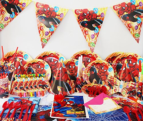 Spiderman Kids Party Supplies komplett Set für 6 Gäste Teller Servietten Becher Party Taschen und mehr (Spider Man Party Supplies)