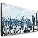 Julia-Art Leinwandbilder - 120 mal 50 cm Bild München Skyline, Stadt Wandbilder sind fertig gerahmt - verschiedene Motive - Kunstdrucke XXL Panorama Mn-01-13