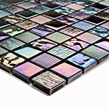 10cm x 10cm Muster. Irisierende Perlmutt Texturiert Glas Mosaik Fliesen Muster in Schimmerndes Lila, Grün, Blau (MT0159 Sample)