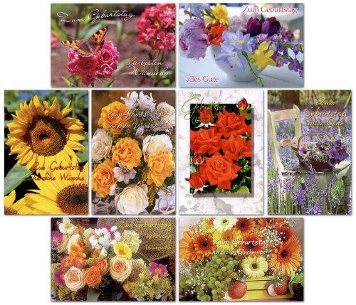 50 Geburtstagskarten mit Blumen Grußkarten zum Geburtstag Glüchwunschkarten mit Umschlägen Klappkarten mit 50 Umschlägen 51-11517 (Grußkarte Blume)