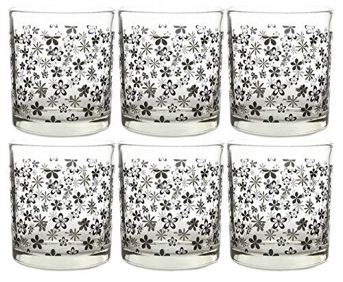 juego de 6 Vasos Transparentes de cristal con Figuras de colores, vaso
