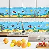 awakink, unter dem Meer AUFKLEBER The Deep Blue Sea Fische Ocean Dekorative schälen Vinyl Wand Sticker Wand Aufkleber abnehmbare Dekore für Wand Ecke Bad Kinder Baby Kinderzimmer Jungen und Mädchen Schlafzimmer