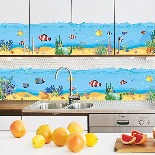 awakink, unter dem Meer AUFKLEBER The Deep Blue Sea Fische Ocean Dekorative schälen Vinyl Wand Sticker Wand Aufkleber abnehmbare Dekore für Wand Ecke Bad Kinder Baby Kinderzimmer Jungen und Mädchen Schlafzimmer (Fenster Klammert Für Kinder)