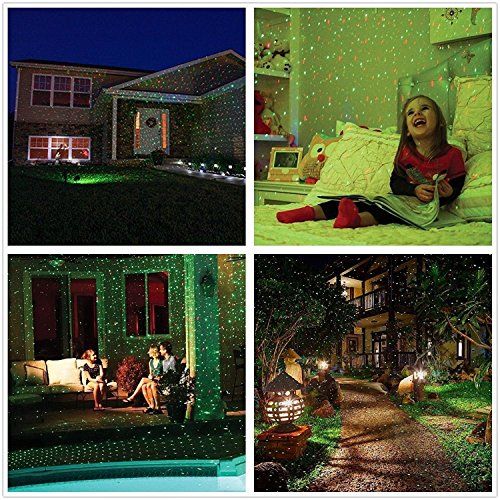 Podofo-Landschaft-Scheinwerfer-wasserdichte Inneninnenbühne-Punkt-Beleuchtung LED-Projektor-Lampe für Weihnachten, Thema-Partei, Hochzeit, Nachtklub, Hof-und Garten-Dekoration Rot & Grün (Sterne-Punkt)
