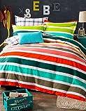 GXS/ bunt Queen-Size-Betten-Set Bettbezug Set Baumwolle Bettwäsche 4pcs gestreift 100% , queen