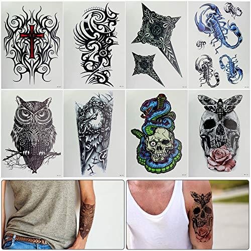 Favengo 8 fogli tatuaggio temporaneo realistico adesivi falsi fai-da-te cool body art carta transfer sul braccio stampabile personalizzabile impermeabile tribale tatuaggio fornitori per uomo donna