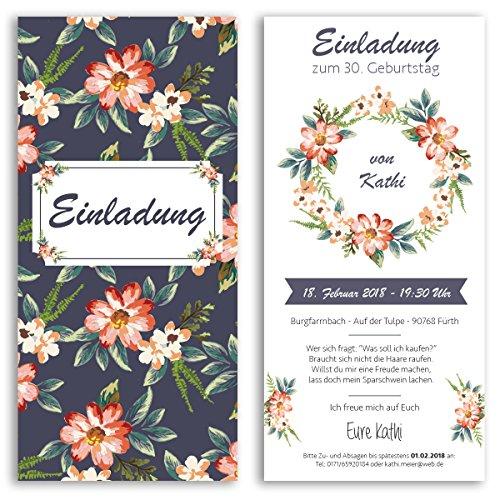 (20 x) Einladungskarten Geburtstag Blumen ausgefallen originell Party Einladungen (Geburtstag 60. Party-einladungen)