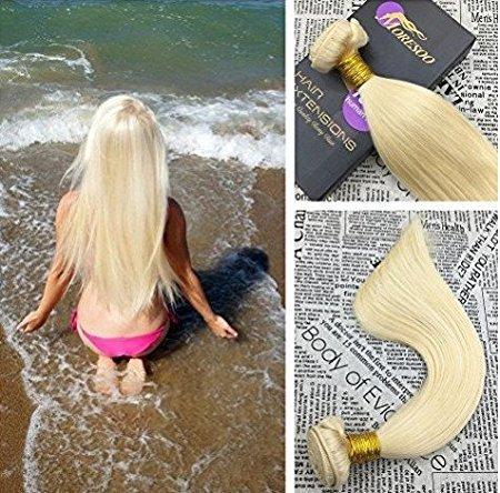 Moresoo 12pollice/30cm capelli veri umani lisci extension capelli veri tessitura biondi/#613 remy brasiliana human hair weave 100g