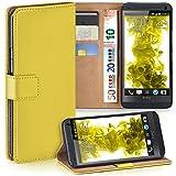 moex HTC One M7 | Hülle Gelb mit Karten-Fach 360° Book Klapp-Hülle Handytasche Kunst-Leder Handyhülle für HTC One M7 Case Flip Cover Schutzhülle Tasche