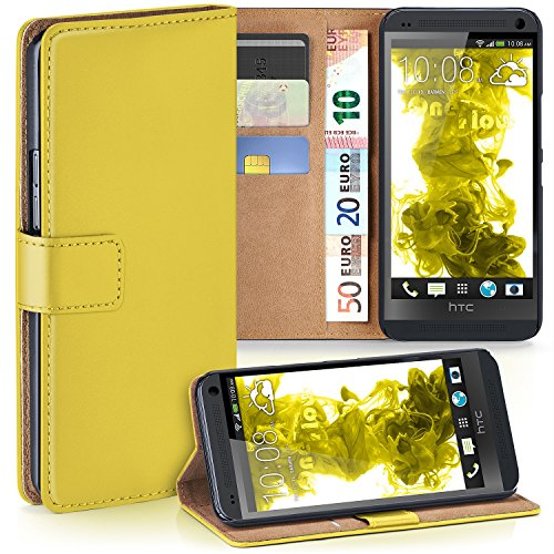 OneFlow PREMIUM - Book-Style Case Custodia con design portamonete e funzione stand per HTC ONE M7 - ACID-YELLOW - Arancione 7 Piatti Di Plastica