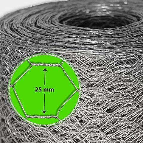 Grillage pour jardin casa pura® clôture zingué | tailles au choix | diamètre de maille 25mm | résistant aux intempéries | bricolage, 100cmx25m