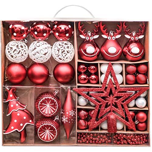Victor's Workshop Weihnachtskugeln 92tlg.Christbaumkugeln Set Plastik Christbaumschmuck für Weihnachtsbaum Dekoration Weihnachtsdeko Party Hausdeko Oh Hirsch Thema Rot Weiß MEHRWEGVERPACKUNG